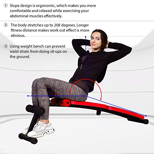 Goplus Sit Up Bench Adjustable, Foldable Abdominal Training Workout Slant Bench, Decline Curved Ab Bench with 4 Adjustable Height Settings (Red)