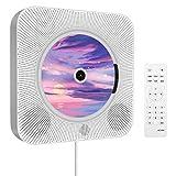 CDプレーヤー 卓上&壁掛け式 CDラジオ 1台多役 小型 ポータブル cd/Bluetooth/FM/USB/AUX対応 新版リモコン付き PSE認証済み 日本語説明書付き ホワイト