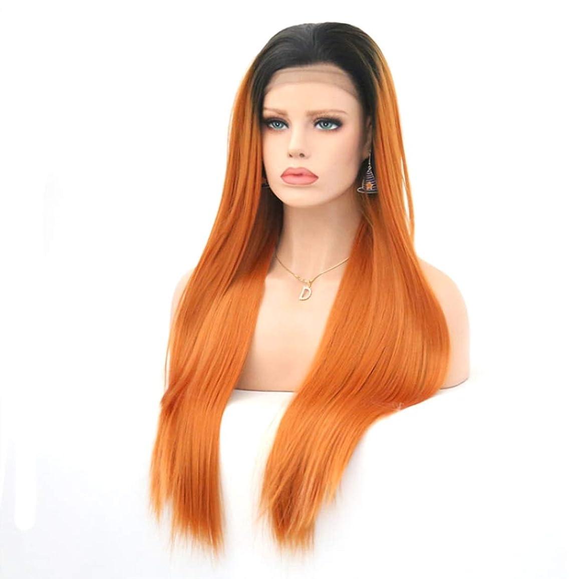 クッション通路フレットKoloeplf 女性のためのグラデーションオレンジロングストレートウィッグケミカルファイバーフロントレースウィッグ