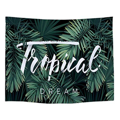 YAVO-EU Decoratief tapijt muur opknoping tropische palmbladeren maan ster sterrenbeeld flanel muur opknoping voor slaapkamer Dorm Decor(150x130 cm)