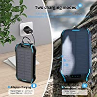 elzle Solar Charger 26800mAh, Solar Power Bank 15W(5V/3A) output fast charging waterproof External Backup Battery (two 3.1A USB and one Type-C output) and LED Flashlight for ios, Samsung Galaxy etc 11