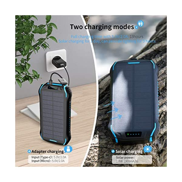 elzle Solar Charger 26800mAh, Solar Power Bank 15W(5V/3A) output fast charging waterproof External Backup Battery (two 3…