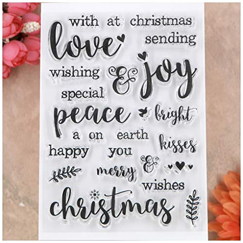KWELLAM Words Merry Christmas Wishes Joy Sending Love Peace Earth Clear Stamps for Card Making Decoration and DIY Scrapbooking