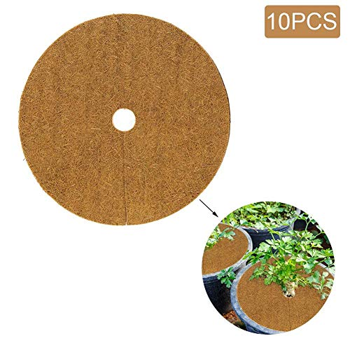 10PCS Mulch Mat Coconut Coir Fiber Liner Round Coconut Mulch Cover Natural Coconut Fibers Disc Plant Cover Coir Mat for Weed Control Plant Cover Flower Pot