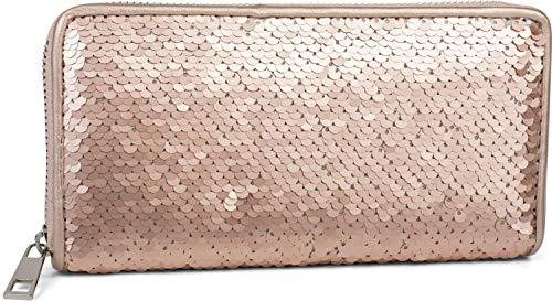 styleBREAKER Damen Portemonnaie mit Wende Pailletten Oberfläche, Reißverschluss, Geldbörse 02040120, Farbe:Rosegold/Silber
