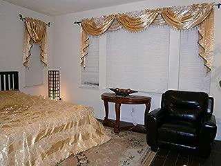 OctoRose Royalty Custom Waterfall Window Valance Swags & Tails, Window Curtain Set, Curtain Panel (Gold, 5pcs-132x47+66x37x3)