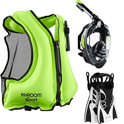 Khroom® Starter Set bestehend aus Schnorchelmaske + Schwimmweste + Flossen   Ideal für Anfänger und Fortgeschrittene (Schnorchelmaske L/XL, Flossen 40-45, Weste Gelb)