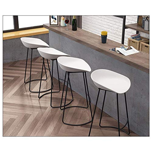 AYU Bar Stools Set of 4 pcs Barstools Breakfast Kitchen Counter Bar Chairs White PP Plastic Seat Black Metal Legs Seat Height 25.6inch/27.5inch/29.5inch