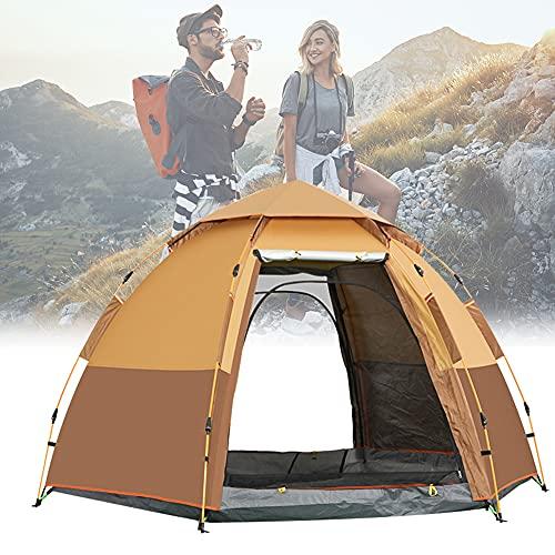 Tienda De Campaña Outdoor Pop Up Ligera Doble Capa Para 3-4 Personas, Impermeable, Robusta, Sistema Quick Up, Ligera Y Fácil De Instalar, Para Trekking, Camping, Playa, Aventura Etc,Amarillo