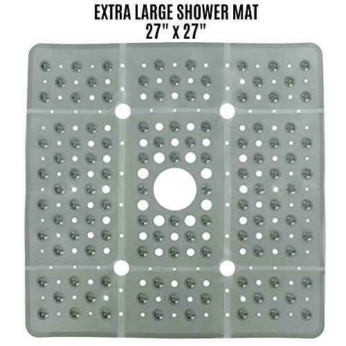 SlipX Solutions Extra Large Square Shower Mat Provides 65% More Coverage & Non-Slip Traction (27