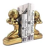 Bellaa 22968 Atlas Globe Bookends Greek Statues European Art 7 inch Golden