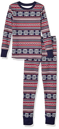 Amazon Essentials Mädchen Long-Sleeve Tight-fit 2-Piece Pajama Set, Mehrfarbig (Marineblau - Navy Fairisle), 4 (XS )