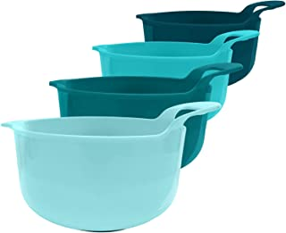 edge Mixing Bowls 4 Piece Plastic Non-Skid Nesting Bowls with Spouts and Handles, for Baking, Cooking and Serving, Teal