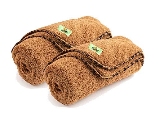 SCRUBIT-Pets 2er Pack Fleece Hundedecke - Weiche & Warme Haustier Überwurf Decken Flauschige Pfotenabdruck Bett Couch Cover für Hunde Katzen und Welpen - Große Größe (53 x 31,5)