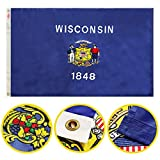 Winbee Wisconsin State Flag 3x5 Ft- Premium Embroidered, Long Lasting 300D Nylon, Sewn Stripes, Sturdy Brass Grommets and UV Protected. Best American Wisconsin Flag Great for Outdoor/Indoor Display.