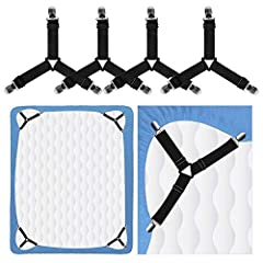 ❤ 4PCS Adjustable Sheet Straps: With the elastic straps, our sheet suspenders allows desired tension and fit all edge of sheet for heavy duty purpose. It is very convenient to adjust them to the length you need. ❤ Durable Sheet Clip: These bed corner...