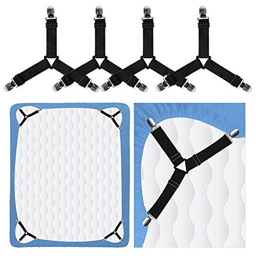 Bed Sheet Holder Straps, Rareccy Adjustable Bed Sheet Fastener and Triangle Elastic Mattress Sheet Clips Suspenders Grippers Fasteners Heavy Duty Keeping Sheets Place for Bedding Mattress (4 PCS)