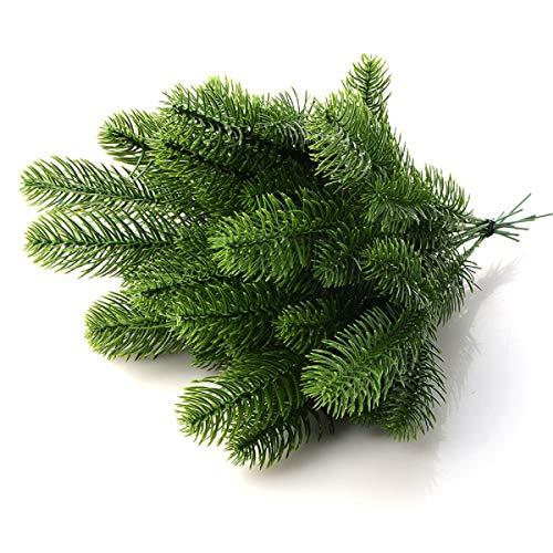 Yalulu Lot de 20 Artificielle Fleur Faux Plantes Vertes Branches De Pin Arbre De Noël pour La Décoration De Fête De Noël Décorations darbre De Noël