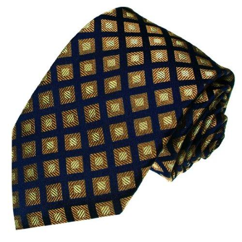 Lorenzo Cana - Blau braun Karo Marken Krawatte aus 100% Seide - Seidenkrawatte Schlips Binder kariert - 77156