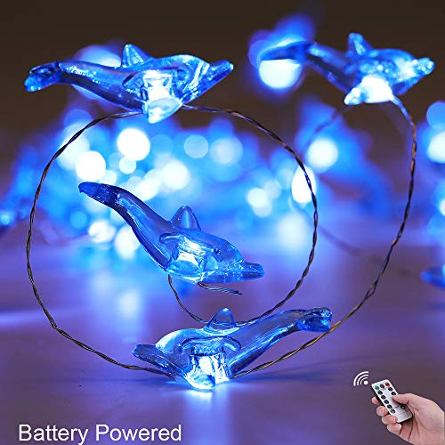 Joyathome Dolphin String Lights 13.85 ft Silver Wire 40 LED Battery Operated Nautical Themed Decor with Remote Whales for Indoor Festive Wedding Birthday Mirror Home Bedroom Party Decorations