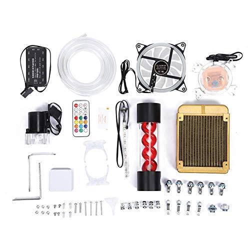 Ventilador de refrigeración por agua para computadora, kit de refrigeración por agua para computadora Kits de sistema de refrigeración líquida para PC Radiador para computadora portátil con control re