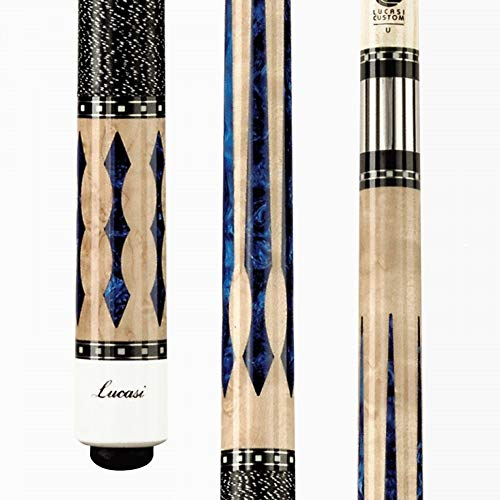 Lucasi Custom Birdseye Maple, Floating 6 PT. Blue Luster Inlays, Black, 18-Ounce (LZ2004NB)