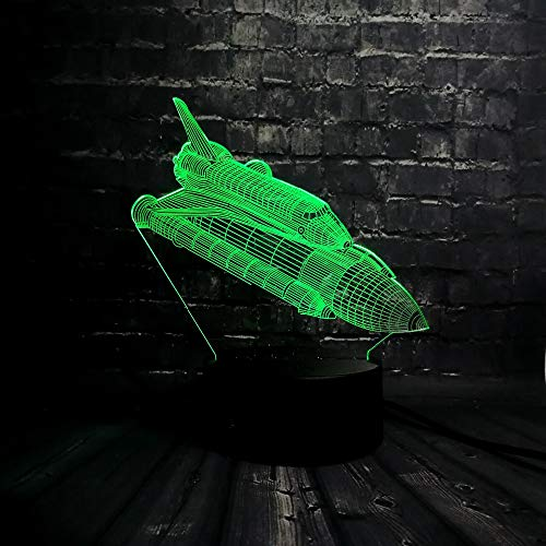 3D Rocket Plane Pattern Night Light,Sleep Light,Illusion Lamp,7 Color Change Decorative Lights, Kids Toys Birthday Gift Touch with Remote Control for Baby Adults Bedroom