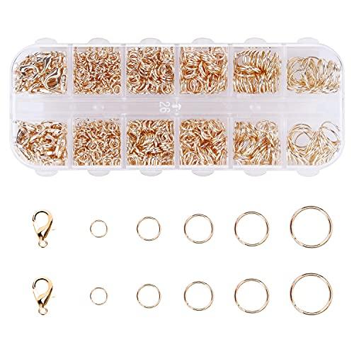 Cierres de Mosquetón de 12mm y Anillas de Salto Abiertas de 4-10 mm para la Fabricación de Joyas , Juego de 1060 Unidades de Joyería, para Hacer Joyas Artesanales DIY Collar Pulsera(Dorado)