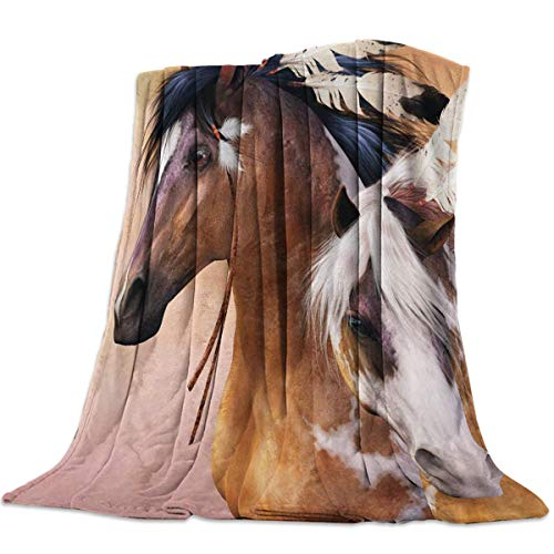 Yaxinduobao Flannel Fleece Bed Manta Warm Fuzzy Plush Fleece Manta Spirit Indian War Horse Print Lightweight Manta Super Soft for Bed/Couch/Sofa 39x50 Inch Twin Size
