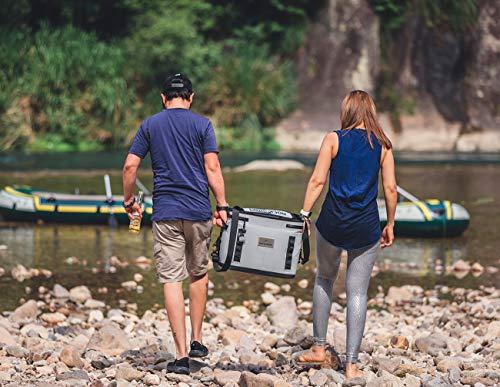 ROCKBROS(ロックブロス)クーラーボックスソフトクーラー超保冷釣りキャンプBBQ全面防水大容量軽量手提げ肩掛け両手持ち大型多機能(灰金)