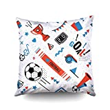 ROOLAYS Yellow Pillow Covers, Throw Square Decorative Pillow Cover 16X16Inch,Cotton Cushion Covers Soccer/Football Abstract backg Both Sides Printing Invisible Zipper Home Sofa Decor Pillowcase