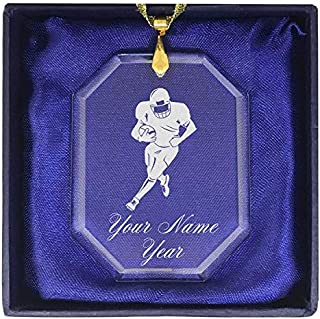 LaserGram Christmas Ornament, Football Player, Personalized Engraving Included (Rectangle Shape)