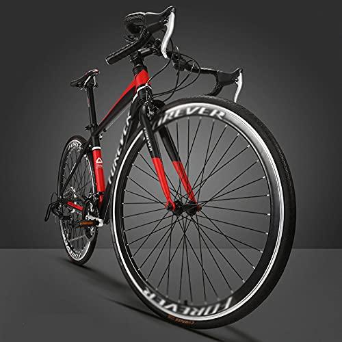 WANYE Bicicleta De Carretera 700C * 28C, Bicicleta De Acero para Viajeros Urbanos con 27 Velocidades De Transmisión 2 Colores Black red-27speed