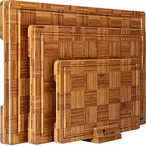 Extra Large Bamboo Cutting Boards, (Set of 3) Chopping Boards with Juice Groove Bamboo Wood Cutting Board Set Butcher Block for Kitchen, End Grain Serving Tray by Kikcoin