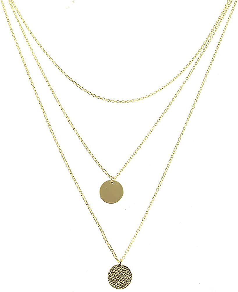 Dainty Layered Choker Necklace, Handmade 14K Gold Plated Y Pendant Necklace Multilayer Bar Disc Necklace Adjustable Layering Choker Necklaces for Women