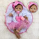 ZXYMUU Muñeca de bebé 22 Pulgadas Sweet Silicone Miembros recién Nacidos Pintado a Mano Activo Cebo de Cejas Educación temprana Curado Modelo Lindo Regalos de Juguete