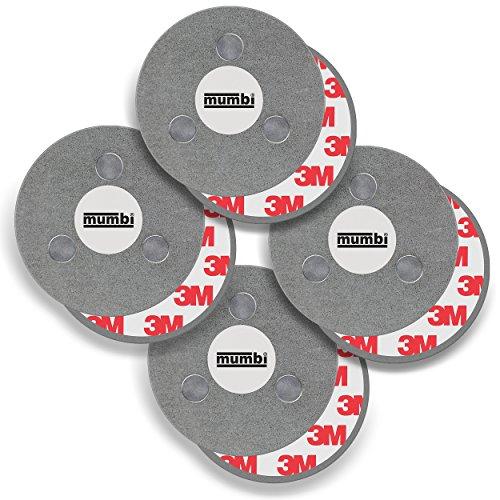 mumbi Magnetbefestigung für Rauchmelder, für glatte Flächen, nicht für Rauhfaser oder losen Putz, Ø70mm (4-er Set)