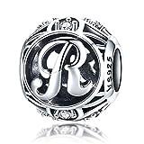Ciondolo con lettera R in alfabeto vintage con cubic zirconia trasparente compatibile con collana di bracciali europei Pandora