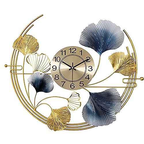 AIOJY Hierro Forjado decoración de Pared Creativo Ginkgo Hoja Pared Reloj Metal Nuevo Chino Mudo salón Sala de Estar Estudio Estudio Fondo de Pared decoración de Pared,78 * 66cm