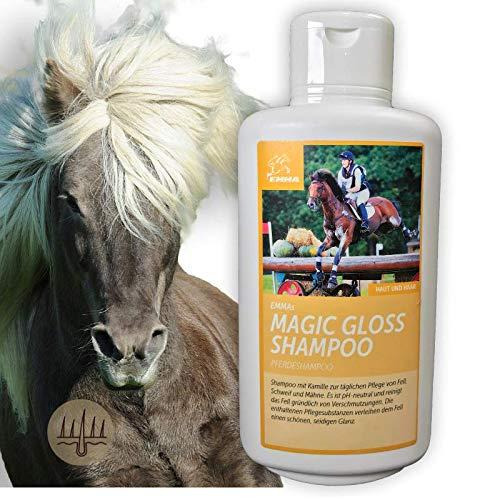 EMMA Pferdeshampoo I mildes Pferde Shampoo + Kamille I Hundeshampoo I Haarpflege Mähne Schweif I Pflegemittel Fell I empfindliche Haut I ph neutrales Fellglanz Shampoo I Pferdepflege 500ml