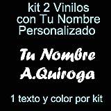 Vinilin - Pegatina Vinilo Tu Nombre o Texto Personalizado - Bici, Casco, Pala De Padel, Monopatin, Coche, Moto, etc. Kit de Dos Vinilos (Blanco)