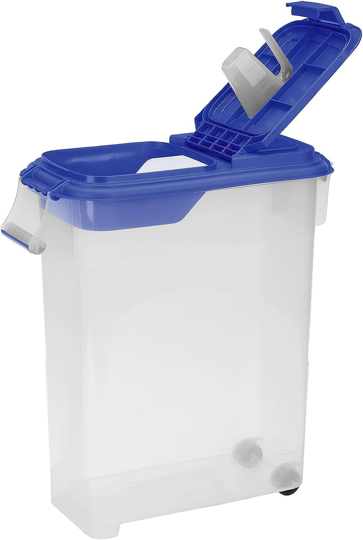 Buddeez 50QT ROLL Away PET Food Dispenser W/Blue LID and Scoop