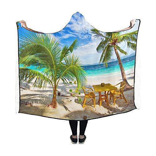 JOCHUAN Hooded Blanket Dining Paradise Beach Einstellungen Decke 60 x 50 Zoll Comfotable Hooded Throw Wrap