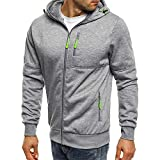 Teresamoon Men's Autum Winter Long Sleeve Zipper Patchwork Hooded Sweatshirt Cardigan Tops