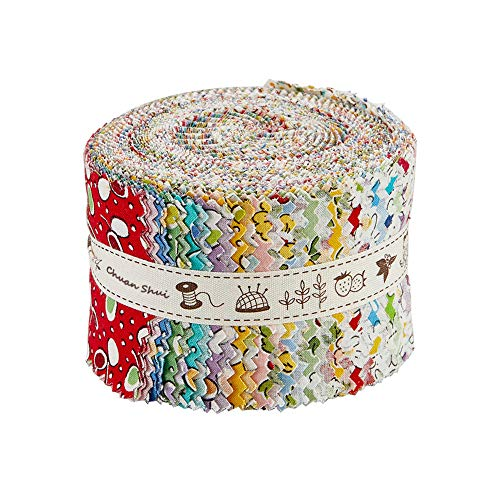 CHUANSHUI Jelly Roll Collection 25 PCS Pre-Cut 2.5 x 41 Inches Quilting Fabric Strips for Patchwork