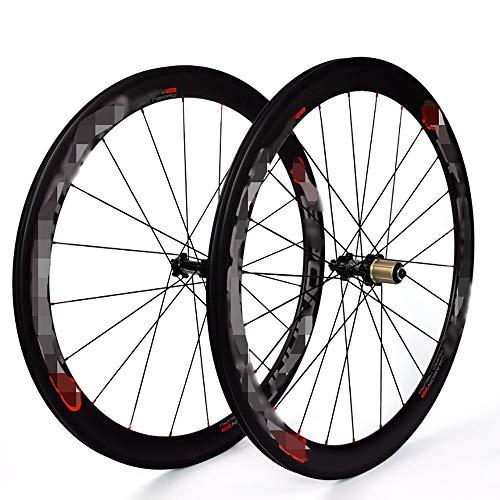 QXFJ 700C Fahrrad-Rad, Front 20 LöCher 24 LöCher / 3K Matt/Kompatibel 8/9/10/11 Geschwindigkeit/Front 2 Nach 4 Palin/Straight Pull Drum/Bestanden EN14781 European Standard Test