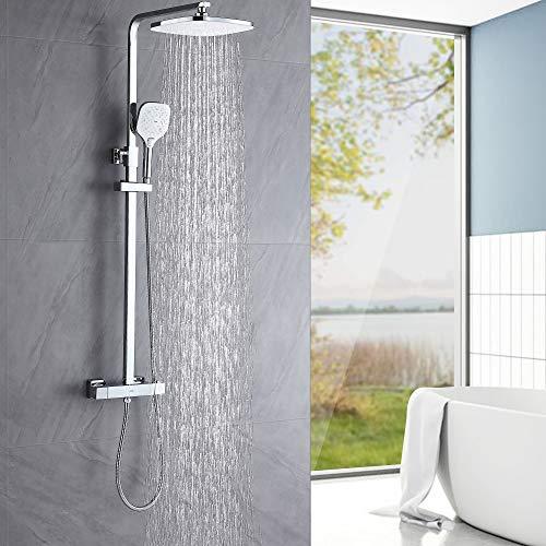 Auralum Columna de ducha Termostática con grifo, Set de ducha Termostatico, Sistema de ducha con 25 * 20 CM ducha de lluvia y 3 Funciones Ducha de Mano.