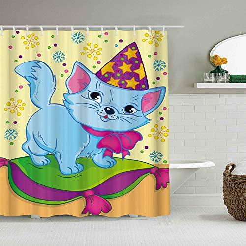 JIOLK Cortina de baño Repelente al Agua,Libro para Colorear y Dibujos Animados de Gato con Gorro de Navidad para niños Colorido Copo de Nieve,Cortinas de baño con 12 Ganchos,tamaño 180 x 210cm