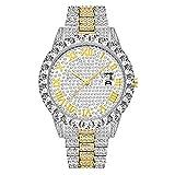 Bling Mens Watch Glacé Bracelet en Acier Inoxydable Diamant Montres Strass Cristal Bracelet en Diamant Cadran Horloge...