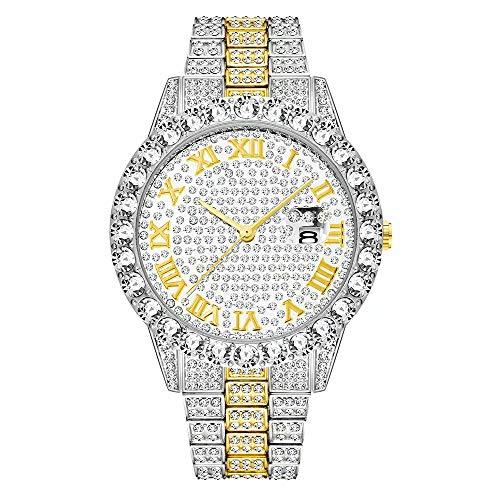 Bling Mens Watch Glacé Bracelet en Acier Inoxydable Diamant Montres Strass Cristal Bracelet en Diamant Cadran Horloge analogique Classique Quartz Argent Or Rose Hip Hop Hommes